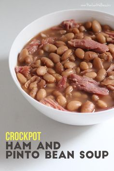 Ham and Pinto Bean Soup Crockpot Ham and Pinto Bean Soup. Only 4 ingredients and so delicious!Crockpot Ham and Pinto Bean Soup. Only 4 ingredients and so delicious! Crock Pot Soup, Crock Pot Slow Cooker, Crock Pot Cooking, Cooking Ham, Camping Cooking, Cooking Turkey, Cooking Tips, Cooker Recipes, Crockpot Recipes