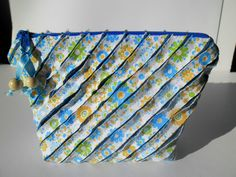 Wedding Gift for her/bag patchwork chenille blue yellow travel bag Clutch small by homeworkart on Etsy