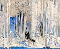 Vintage Illustrations Inspired by Beardsely: The Ten Dancing Princesses by Kay Nielsen - A new show examines the influence of Aubrey Beardsley's delicate, daring pictures. Grimm, Kay Nielsen, Art Nouveau, Aubrey Beardsley, Children's Book Illustration, Botanical Illustration, Victorian Illustration, Vintage Illustrations, Fairytale Art