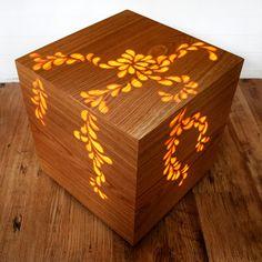 illuminated wood veneered cube designed & made by Jane Blease