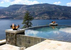 These twin Fiery Fleur-de-Lis 37 inch Sculptural Firebowls™ flanking an infinity pool over Lake Okanagan in British Columbia were a commissioned design. I worked together with the client to come up with the drawings and scale, and when they were done, we were both so pleased with how they turned out that I asked his permission to make them a stock design. They were the first of many more to be made.