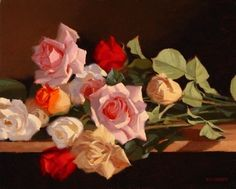 Rose Medley por Laurie Kersey ~ Óleo 16 x 20
