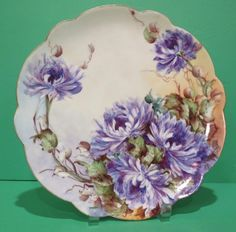 Limoges Hand Painted Plate w Purple Flowers Fabric Painting, Painting On Wood, Purple Flowers Wallpaper, Flower Drawing Tutorials, Antique Plates, Hand Painted Plates, Ribbon Art, China Painting, Flower Aesthetic