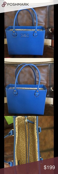 Kate spade blue leather satchel This beauty is like new. Only used twice.  Textured blue leather on outside with one small flaw as noted in last picture is not noticeable when carrying.  No wear on corners and inside is excellent condition 3 slots and one zippers closed. Comes with duster and green care card. kate spade Bags Satchels