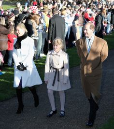 (L-R) Sophie, Countess of Wessex, Lady Louise Windsor and Prince Edward, Earl of Wessex arrives at the Christmas Day service 2013 at Sandringham