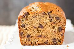 Peanut Butter-Banana Bread with Chocolate Chips - I just need to replace the choc chips w/ carob for our household!