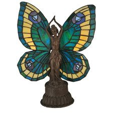"""Butterfly Tiffany Art Glass Animals Lady 17"""" H Table Lamp with Novelty Shade"""