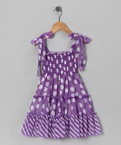 Take a look at this Purple Polka Dot Chiffon Dress - Toddler & Girls on zulily today!