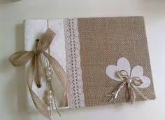 Items similar to Burlap and silk guestbook - Burlap, lace and silk - Rustic guest book - Best bridal gift on Etsy Burlap Lace, Burlap Ribbon, Altered Composition Notebooks, Scrapbook Albums, Scrapbooking, Fabric Journals, Pretty Box, Bridal Gifts, Wedding Guest Book