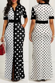 Short African Dresses, Latest African Fashion Dresses, Women's Fashion Dresses, African Print Dress Designs, Beautiful Dress Designs, Cute Dress Outfits, Look Fashion, Polka Dots, Corporate Attire