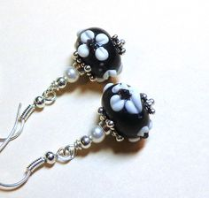 Jewelry, Earrings, Black, White Flowers, Lampwork, Swarovski Crystal Pearls, Silver. $10.00, via Etsy.