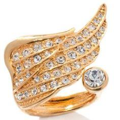 Paula Abdul FYG Yellow Gold GP Inspirational Angel Wing Crystal Ring #PaulaAbdulFYG #Cocktail