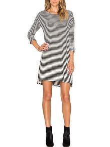 Breton Striped Round Neck T-shirt Dress -SheIn(Sheinside)