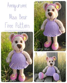 Miss Bear By Amigurumi Askina - Free Crochet Pattern - Pattern In Turkish - See https://translate.google.com/translate?sl=auto&tl=en&js=y&prev=_t&hl=en&ie=UTF-8&u=http%3A%2F%2Famigurumiaskina.blogspot.de%2F2015%2F07%2Famigurumi-bayan-ay-yapls-amigurumi-miss.html For English Pattern Translation - (amigurumiaskina.blogspot)