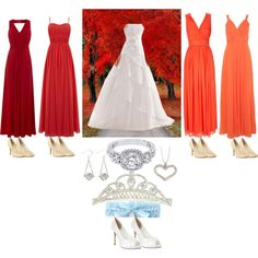 As close to my dream wedding as I can create on Polyvore. Long, soft, flowing bridesmaids dresses going in gradient from dark red to orange, flowing bridal gown, diamond accessories for the bride, and during autumn. ♥