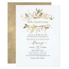 15 Best 50th Wedding Anniversary Invitations Images Wedding Gold
