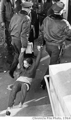Police arrest protester at UC Berkeley, December 1964. Chronicle File Photo, 1964