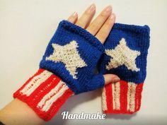 Knitted mittens  mittens Captain America Marvel by HandmakeOrgUa #Knitted #mittens \ mittens #Captain #America\ #MarvelComics\ #Avengers\ #fingerless #gloves \ #Marvel \ #mitts #handmade\#blue