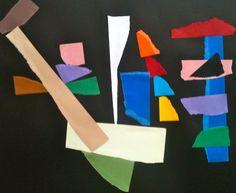 Création libre en collages. Encore des formes que l'on voit dans les peintures, libres. A droite du tableau, par exemple, l'arrête.