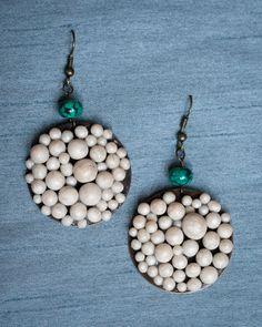 Handmade Polymer Clay Pearl Colored Beaded Earrings by JenniferAnnFineArt, $25.00
