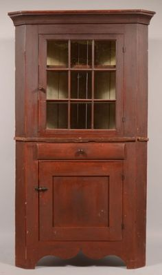 Pennsylvania Country Federal Cherry Two Part Corner Cupboard with the Original Red Paint. I think this would be a neat bar. Southern Furniture, Colonial Furniture, Primitive Furniture, Primitive Antiques, Country Furniture, Country Decor, Farmhouse Decor, Antique Furniture, Primitive Bedroom