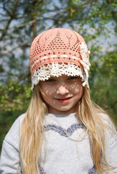 Girls Crochet Lace Summer Hat Crocheted Sun Hat Bohemian Hat Hippie hat Pink beanie hat Beach Hat Kids Summer Hat Children Crochet Hat