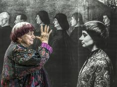 Agnès Varda thumbing her nose at Agnès Varda posing with a Bellini painting. Jacques Demy, Anna Karina, Black Panthers, Marie Claire, Claude Lelouch, Agnes Varda, Francois Truffaut, Portraits, Urban Photography