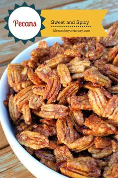 Sugar and Spice Pecans - these little gems are the bomb and I bet you can't eat just one!!!! #blessedbeyondcrazy #pecans