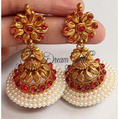 Largest Online Marketplace in India Gold Jhumka Earrings, Jewelry Design Earrings, Gold Earrings Designs, Gold Jewellery Design, Jhumka Designs, Antique Earrings, Antique Jewellery, Gold Wedding Jewelry, Gold Jewelry