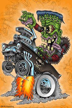 Frankenstein Hot Rod Drawings | Franken-Wheelie by Britt8m