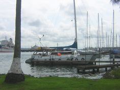 Ladyhawke, all decked out with the necessary protective tires -- fueling up at the old Panama Yacht Club, Colon. Ready to transit the canal.  Please like us on fb: https://www.facebook.com/EveryoneSaidIShouldWriteABook