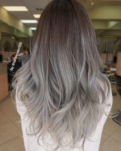 Are you looking for ombre hair color for grey silver? See our collection full of ombre hair color for grey silver and get inspired! Grey Ombre Hair, Silver Grey Hair, Brown To Grey Ombre, Grey Brown Hair, Ash Brown, Ash Gray Balayage, Ash Gray Hair Color, Subtle Ombre, Black Hair