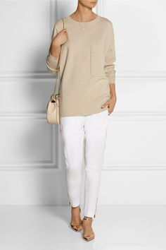 CHLOÉ Oversized cashmere sweater GIANVITO ROSSI Metallic leather point-toe flats STELLA MCCARTNEY Tamara stretch-cady tapered pants MONICA VINADER Vega rose gold-plated diamond necklace