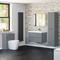 900mm Denver Gloss Grey Built In Basin Drawer Unit - Wall Hung