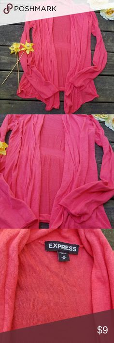 $Express flowy cardigan wrap$ This is a beautiful coral flattering cardigan. Perfect to transition into fall with! Can be dressed up or dressed down! Great condition Express Sweaters Cardigans