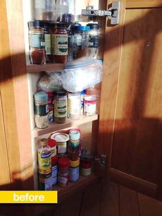 Spice Storage Before & After: A Tiny Corner Cabinet Gets Neatly Organized —…