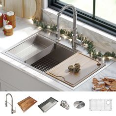 "Kraus 33"" All-In-One Workstation Sink and Faucet Combo"