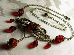 Garnet Ruby Blood Red Crystal Choker Necklace