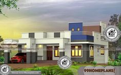 1 Story House Plans with Flat Roof Simple & Less Economic Design Ideas Simple House Plans, Simple House Design, House Design Photos, Modern House Plans, 1 Story House, House Plans One Story, 1 Bedroom House Plans, One Bedroom Flat, Indian House Plans