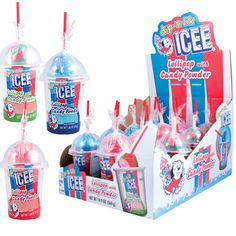 ICEE flavored lollipops with candy powder! Dip the tasty ICEE lollipop into the cup of delicious candy powder - all packaged to look like a classic ICEE treat! All Candy, Lollipop Candy, Sour Candy, Candy Party, Studios D'art, Swirl Lollipops, Giant Candy, Nutter Butter Cookies, Pastel Candy