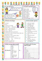 English worksheet: Speaking series (1 ) - Personal information  -