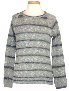 Lucky Brand Womens Sweater PACIFICA Stripe Marl Knit Top Navy Blue S NEW $89.50 #LuckyBrand #Crewneck