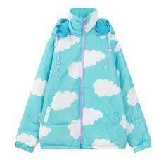 Sweet Clouds Printing Hoodie Wadded Jacket Coat