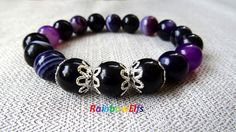Beaded gemstone bracelet. Purple agate stone by RainbowElfs