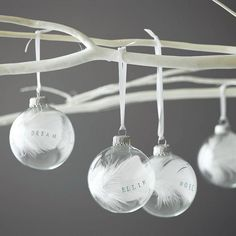 personalised christmas baubles ideas white feathers ribbons Christmas crafts