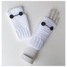 Big Hero 6 Baymax Wristwarmers, Marvel Comics, Disney, Fingerless... ❤ liked on Polyvore featuring accessories, gloves, fingerless gloves, fingerless mitts, mitt, mitt glove and crochet fingerless mitts