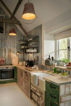 salvaged style farm kitchen
