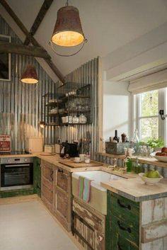 salvaged style farm kitchen