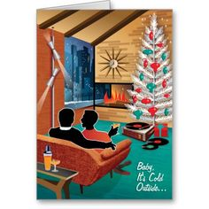 Mid Century Gay Couple Christmas Cards - For couples in a Domestic Partnership -  Baby, It's Cold Outside! A mid century modern couple snuggles up in front of the fire on this swanky Christmas Card. Mid century modern lovers will dig the aluminum tree and pole lamp. Customize it with your own greeting.
