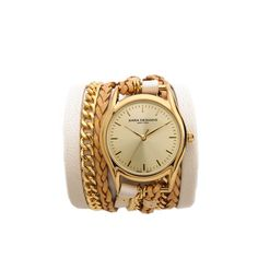Sara Designs Leather & Chain Wrap Watch - Beige (€175) ❤ liked on Polyvore featuring jewelry, watches, braided wrap watch, body chain jewelry, blue dial watches and water resistant watches